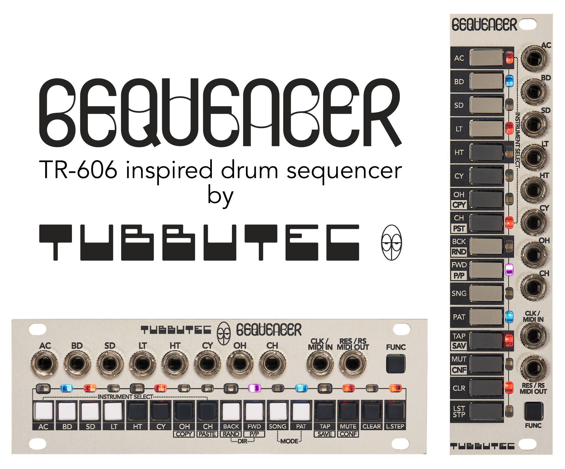6equencer - a TR-606 inspired sequencer in 1U and 3U eurorack